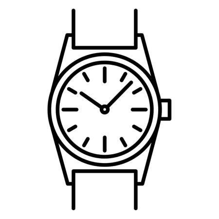 Wrist watch icon black contour on a white background of vector illustration