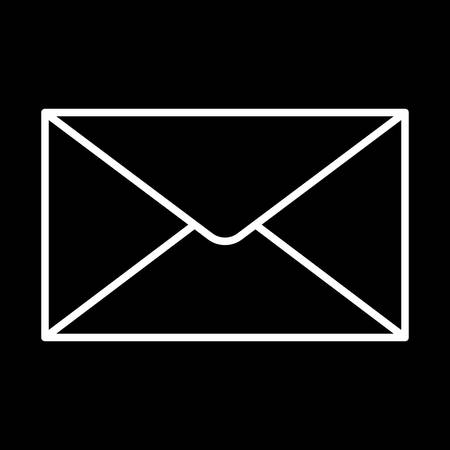 Closed envelope icon white contour on a black background of vector illustration