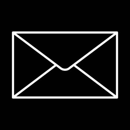 Gesloten envelop pictogram witte contour op een zwarte achtergrond van vectorillustratie