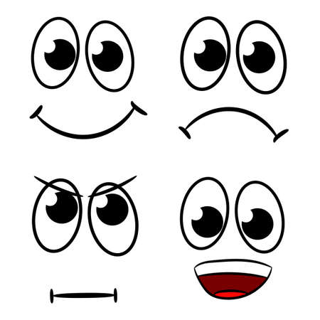 Comical cartoon faces set against a white background vector illustration
