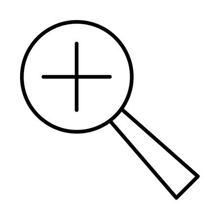 Magnifying with the plus icon black contour on a white background of vector illustration Illustration