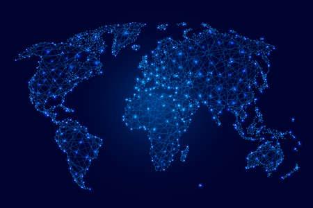 Carte Du Monde Lumineuse.Carte Du Monde Des Polygones Lumineux Bleu Des Points Et Des Etoiles Sur Une Illustration Vectorielle De Fond Sombre