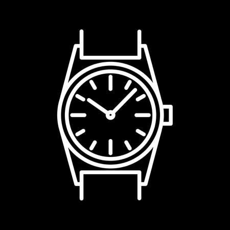 Wrist watch icon white contour on a black background of vector illustration Ilustração
