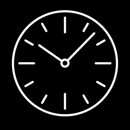Dial switches clock icon white contour on a black background of vector illustration Illustration