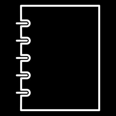writing pad: notebook icon white contour of vector illustration