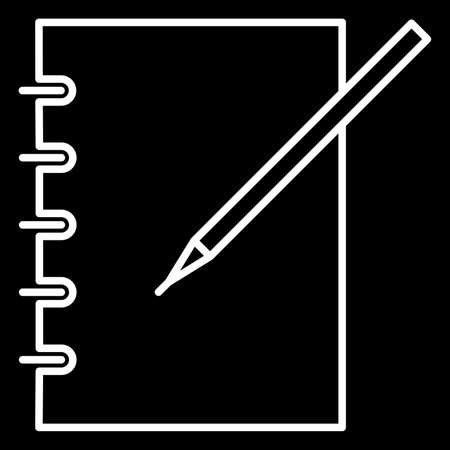 icon notebook and pen white contour of vector illustration