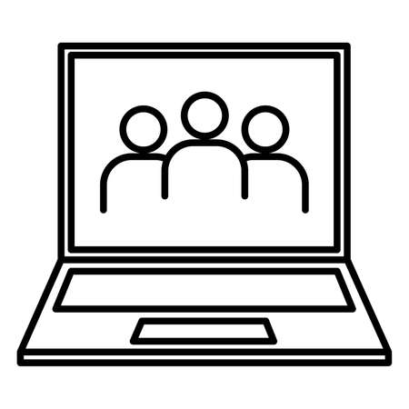 black people: laptop and people icon black contour of vector illustration Illustration
