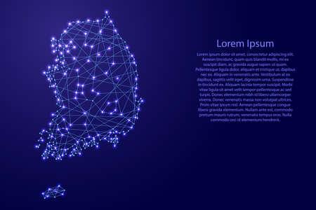 青い折れ線と輝くから韓国の地図星ベクトル図