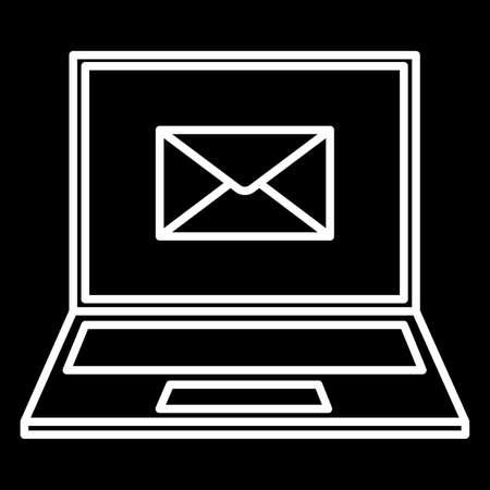 enveloped: laptop and an envelope icon white contour of vector illustration Illustration
