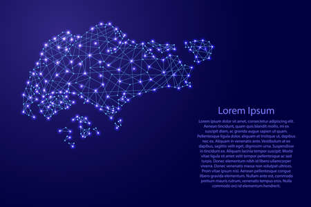 Map of Singapore from polygonal blue lines and glowing stars vector illustration Vectores