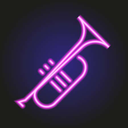 ベクトル図のピンクのネオンが輝くトランペットします。