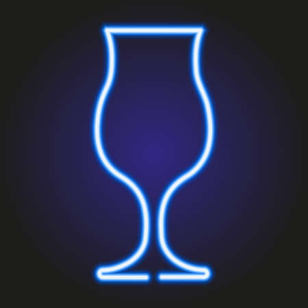 ice tea: Cocktail glass glowing blue neon of vector illustration