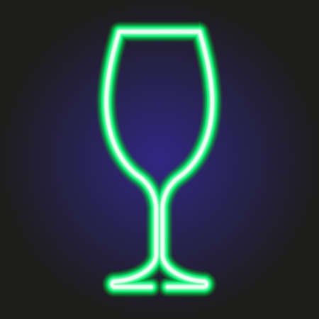 scotch: Wine glass glowing green neon of vector illustration