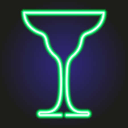 glass of margarita glowing green neon of vector illustration