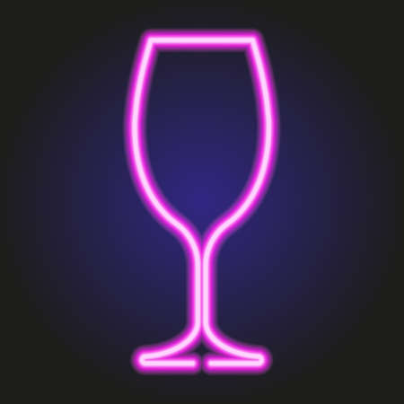 Wine glass glowing pink neon of vector illustration