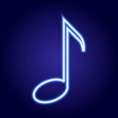 simbolos musicales: Musical note neon blue glowing of vector illustration Vectores