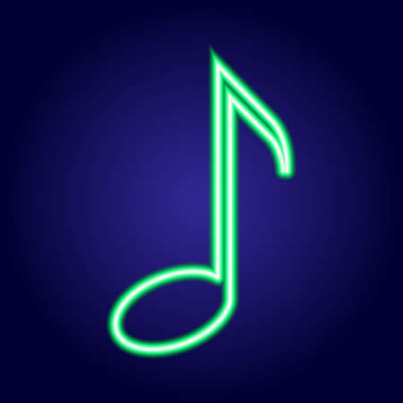 simbolos musicales: Musical note neon green glowing of vector illustration