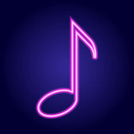 simbolos musicales: Musical note neon pink glowing of vector illustration