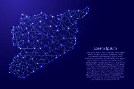 Mapa de Siria de líneas azules poligonales y estrellas brillantes ilustración vectorial