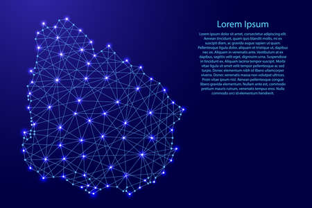 Map of Uruguay from polygonal blue lines and glowing stars vector illustration