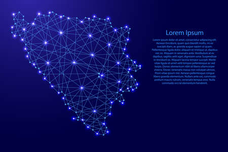 Map of Bosnia and Herzegovina from polygonal blue lines and glowing stars vector illustration