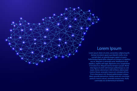 Map of Hungary from polygonal blue lines and glowing stars vector illustration