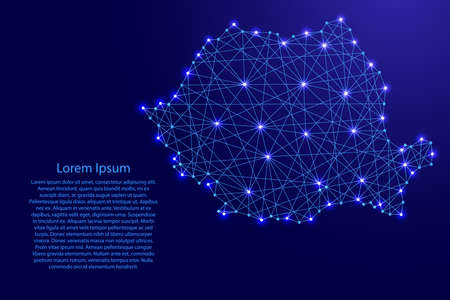 Map of Romania from polygonal blue lines and glowing stars vector illustration Illustration