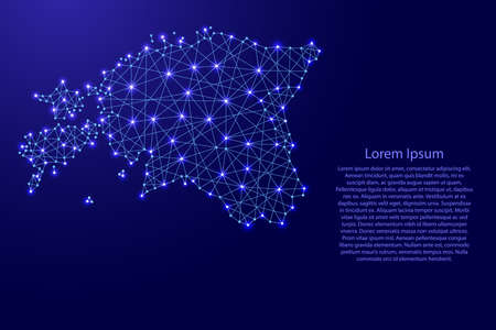 Map of Estonia from polygonal blue lines and glowing stars vector illustration