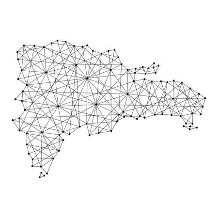 Map of Dominican Republic from polygonal black lines and dots of vector illustration Vektoros illusztráció