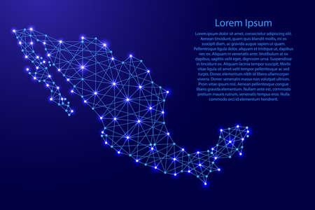 다각형 블루 라인과 빛나는 별 벡터 일러스트 레이션에서 멕시코의지도