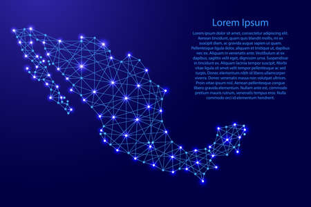 Map of Mexico from polygonal blue lines and glowing stars vector illustration Illustration