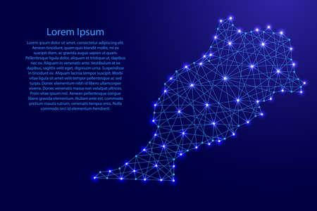 Mapa de Marruecos de líneas azules poligonales y estrellas brillantes ilustración del vector Ilustración de vector