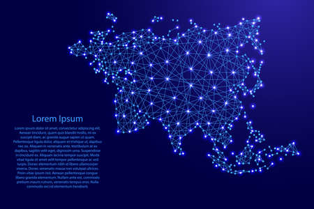Map of Eurasia from polygonal blue lines and glowing stars vector illustration Zdjęcie Seryjne - 78089278