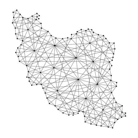 Map of Iran from polygonal black lines and dots of vector illustration Illustration