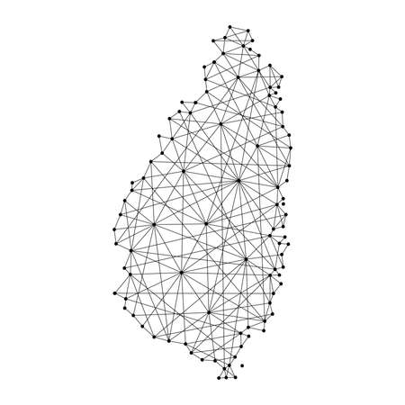 Map of Saint Lucia from polygonal black lines and dots of vector illustration Ilustrace