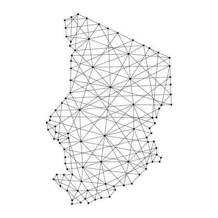 Map of Chad from polygonal black lines and dots of vector illustration Vetores