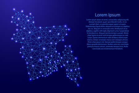 Map of Bangladesh from polygonal blue lines and glowing stars vector illustration