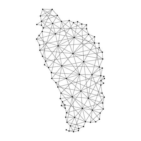 Map of Dominica from polygonal black lines and dots of vector illustration