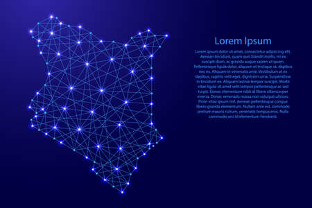 Map of Kenya from polygonal blue lines and glowing stars vector illustration