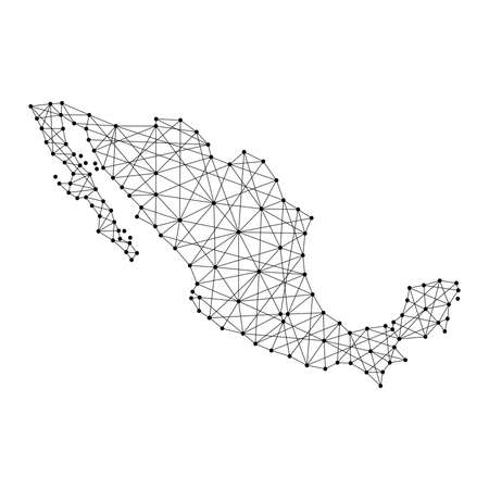 Map of Mexico from polygonal black lines and dots of vector illustration