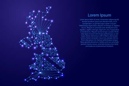 Map of United Kingdom of Great Britain and Northern Ireland  with flag inside from polygonal blue lines and glowing stars vector illustration Illustration