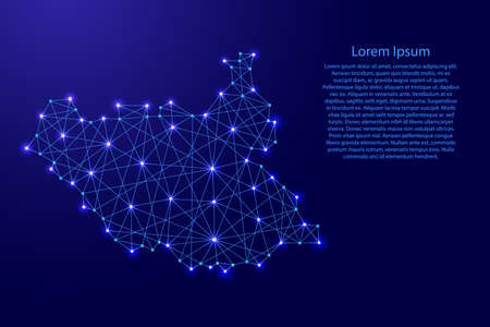 Map of South Sudan from polygonal blue lines and glowing stars vector illustration Çizim