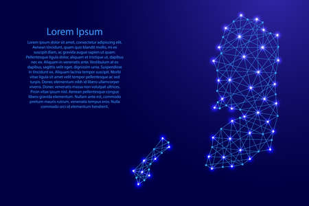 Map of Palestine from polygonal blue lines and glowing stars vector illustration