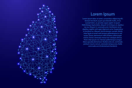 Map of Saint Lucia from polygonal blue lines and glowing stars vector illustration