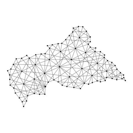 Map of Central African Republic from polygonal black lines and dots of vector illustration Illustration