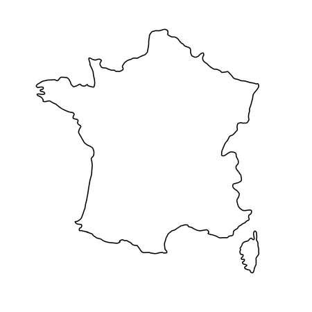 ベクトル図の黒の輪郭曲線のフランス地図