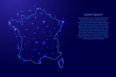 Map of the France from the contours blue and luminous stars of vector illustration