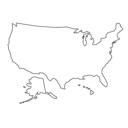 The United States of America map of black contour curves of vector illustration Illustration