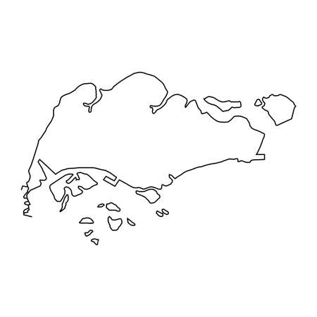 The Singapore map of black contour curves of vector illustration