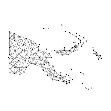 oceania: Map of Papua New Guinea from polygonal black lines and dots of vector illustration